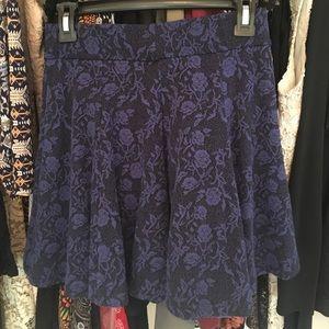 black and dark blue/purple flowered skater skirt